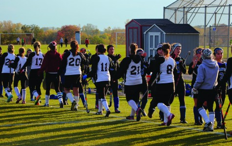 The Antioch Sequoits varsity field hockey team shaking hands with the Highland Park Giants after defeating them with a score of 4 to 0. Photo by Marina Palmieri.
