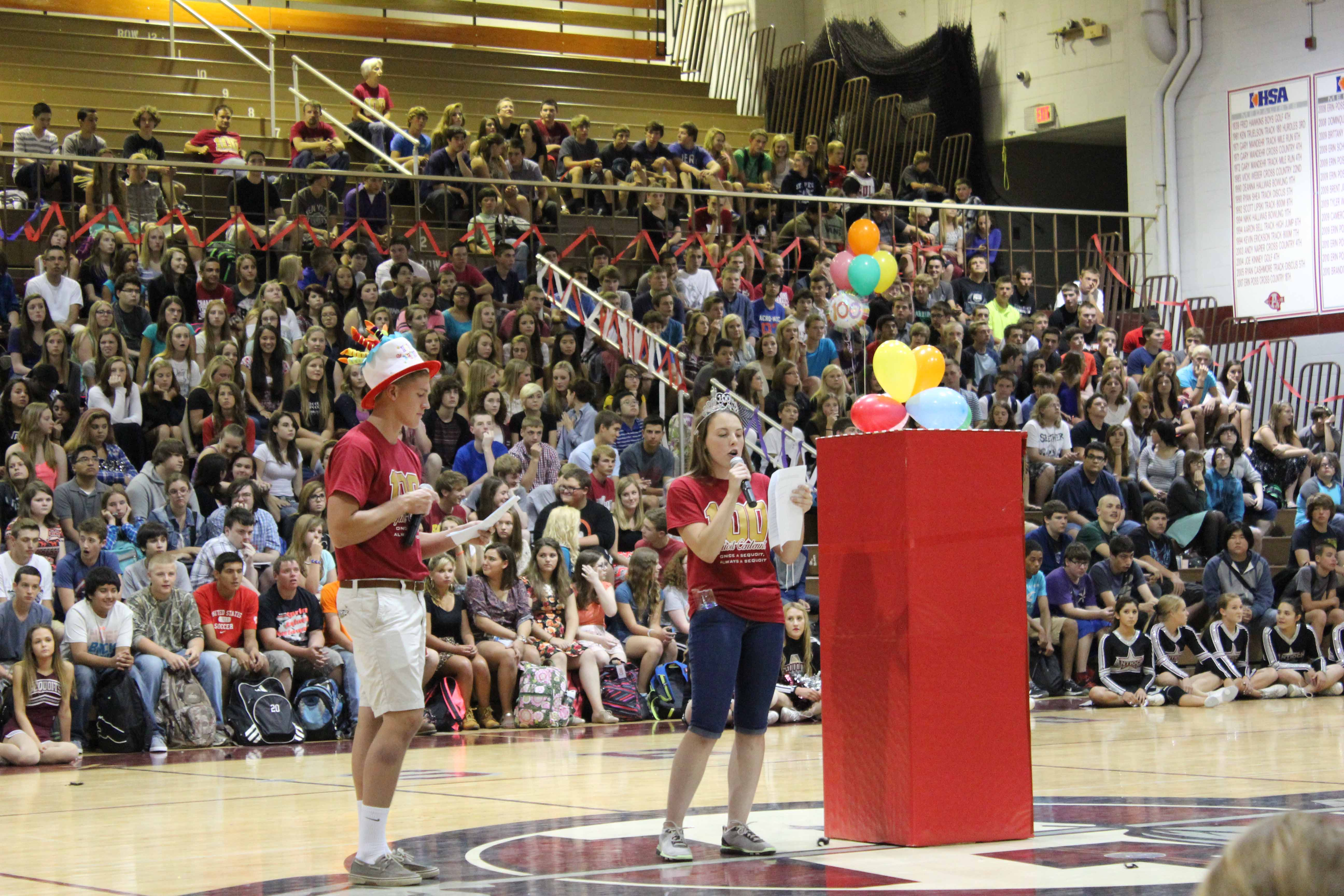 The ACHS student section practicing the new Cardinal Crazies chant at the pep assembly on Aug. 18.