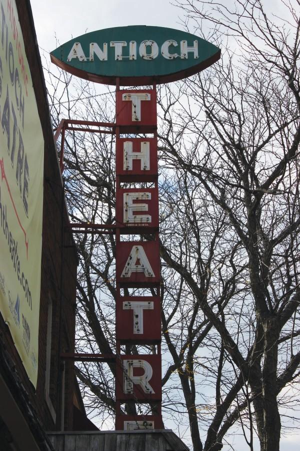 The iconic sign of the Antioch Theatre will not be changing in the renovation.