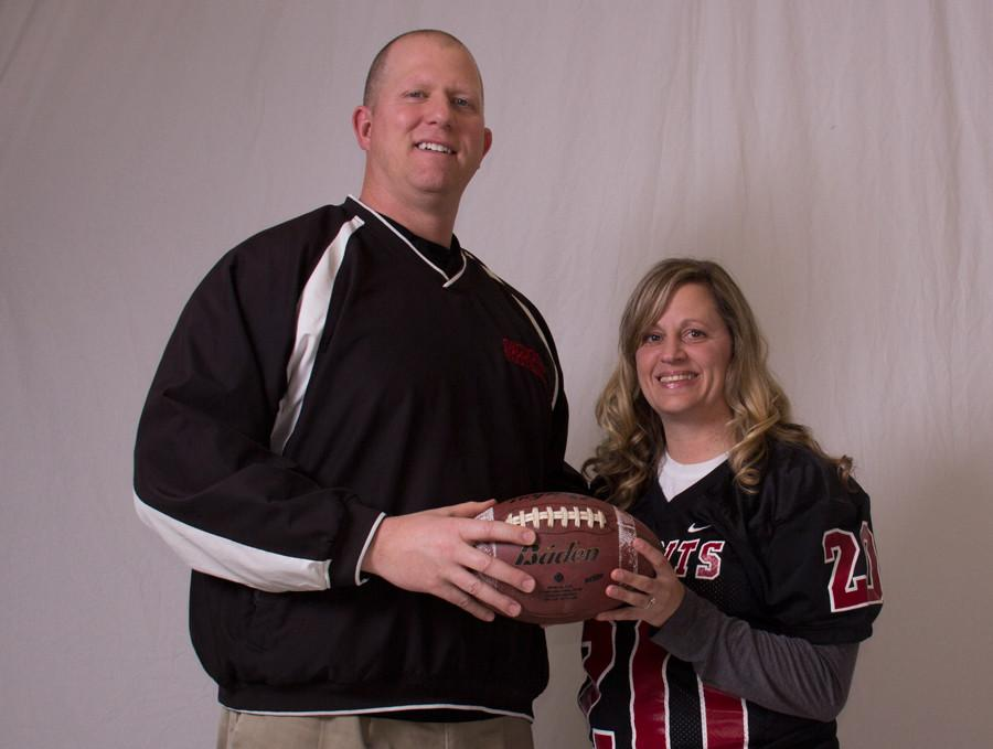 Football+coach+Brian+Glashagel+and+Lisa+Webb%2C+junior+Dale+Trusky%27s+mom%2C+have+created+a+strong+bond+between+the+coaching+staff+and+the+parents.