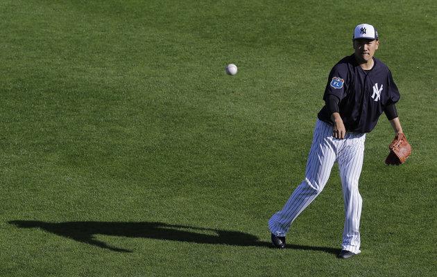 New York Yankees Masahiro Tanaka, of Japan, during a spring training baseball workout Monday, Feb. 22, 2016, in Tampa, Fla. (AP Photo/Chris OMeara)