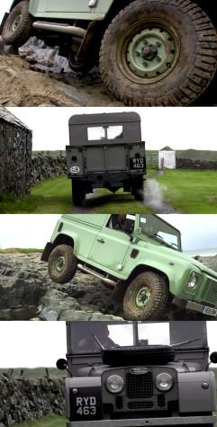 Various older models of the Land Rover Defender