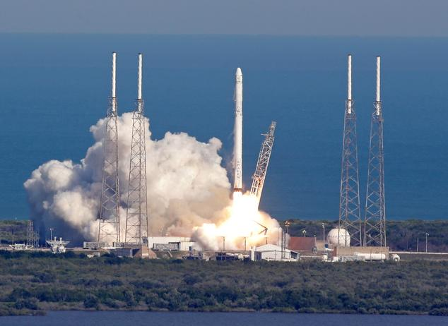 A SpaceX Falcon 9 rocket launched Friday. The Rocket later landed on a barge in the Atlantic Ocean.