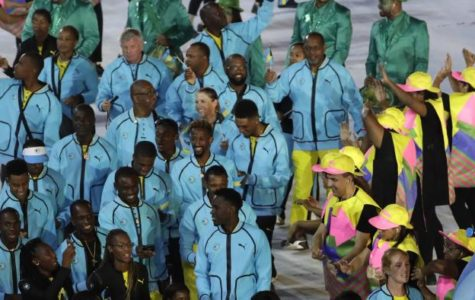 The athletes from The Bahamas show their national pride at the Olympic Opening Ceremony on August 5, 2016.