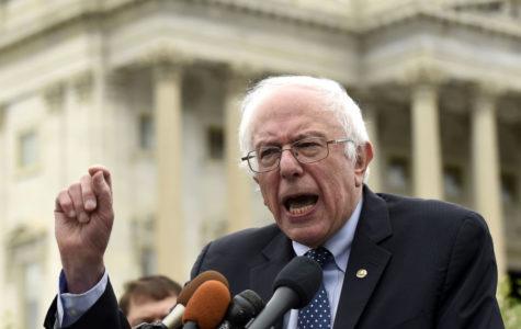Senator Bernie Sanders speaks to a crowd in Washington, D.C. during the primaries this year.