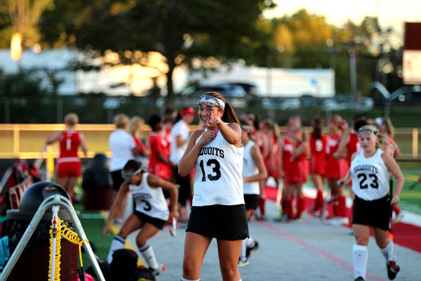 Julia Murillo celebrates after scoring first goal goal of two against Homewood-Flossmoor
