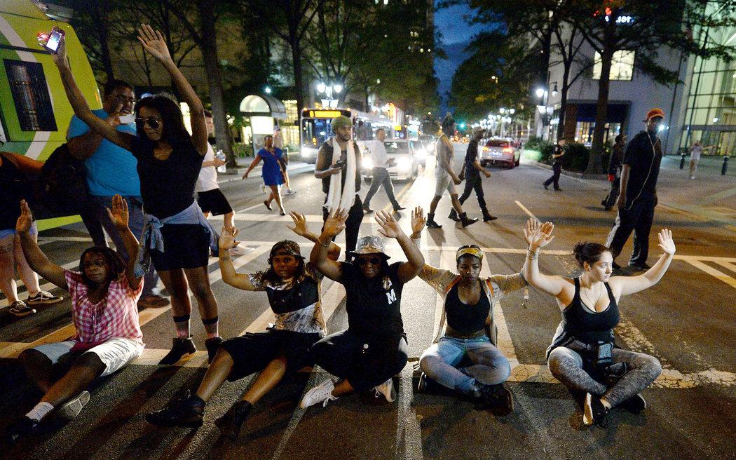 Protesters block I-277 during 5th day of unrest in Charlotte, North Carolina.