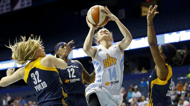 A Chicago Sky player goes up for a shot.
