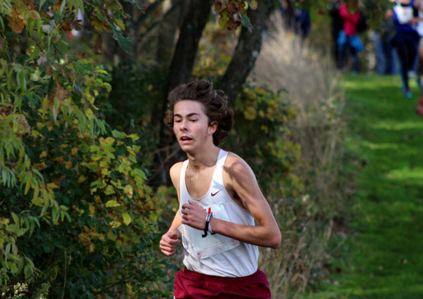 Senior Kevin Vettese runs hard to be the second finisher for Antioch this past weekend.