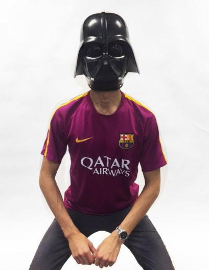 Senior Booker Grass poses with Darth Vader helmet.