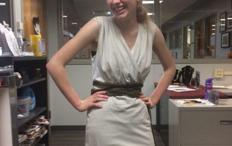 Allison Hoffelder dressed as Rey from Star Wars.