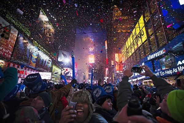 People gather in Times Square for New Year's celebrations.