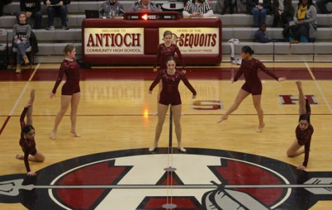 The dance team preforms during the half time of the boys basketball game on January 20.