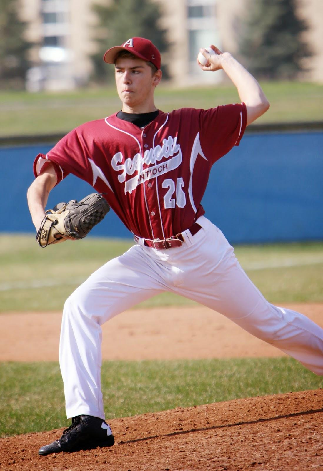 Michael Mentone pitching in a game against Warren Township High School on April 17, 2015.