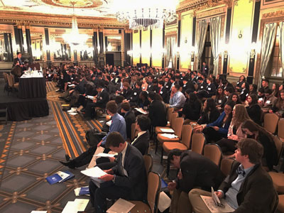 The IAEA (International Atomic Energy Agency) represented over 146 countries with two people per delegation, putting more than 300 people in one room at this part of the Model UN Conference.