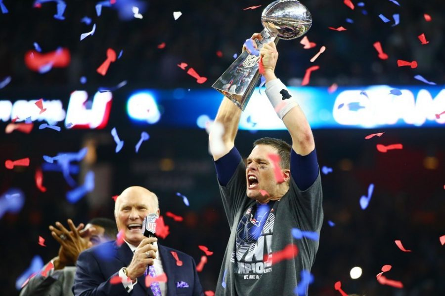 Tom Brady celebrates his fifth Super Bowl victory over the Falcons in Super Bowl LI.