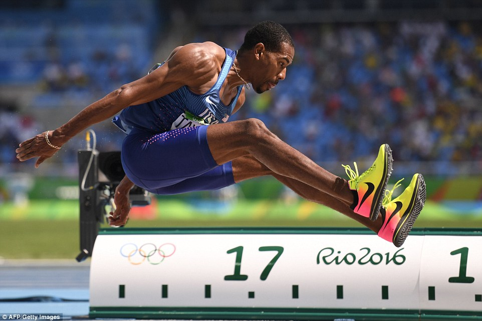 USA's Christian Taylor jumps for the gold medal in triple jump at the Rio Olympics.