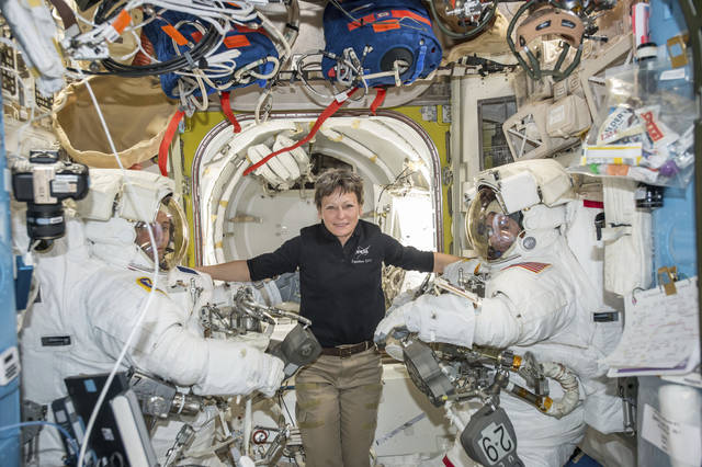 NASA+astronaut+Peggy+Whitson+set+an+American+record+for+time+in+space.