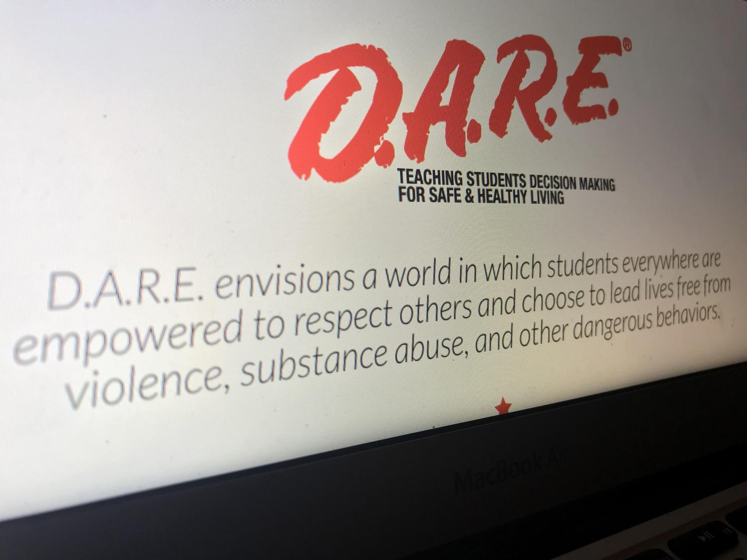 D.A.R.E. promotional material is based around their message as a company. It is currently absent in school communities similar to Antioch Community High School.