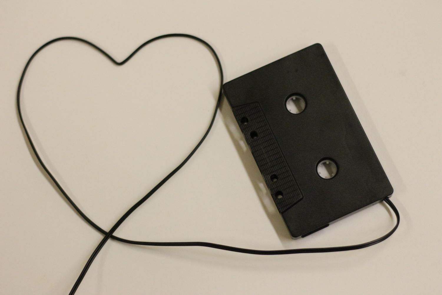 An old tape with a cord in the shape of a heart.