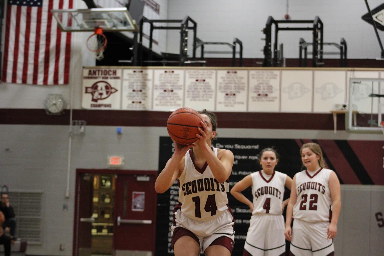 Senior Rachel Phillips shoots a free throw.