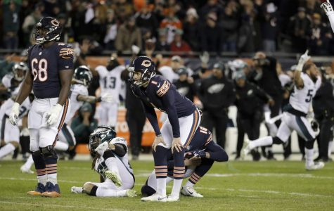 Cody Parkey moments after realizing he missed the game winning field goal versus the Philadelphia Eagles.