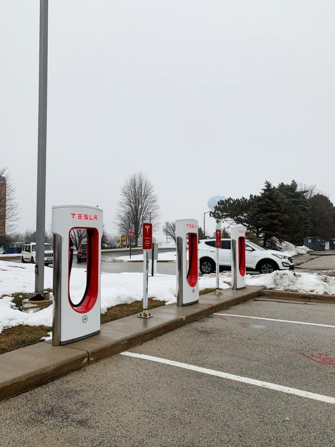 In nearby Pleasant Prairie, Wisconsin, Tesla drivers can charge their cars.