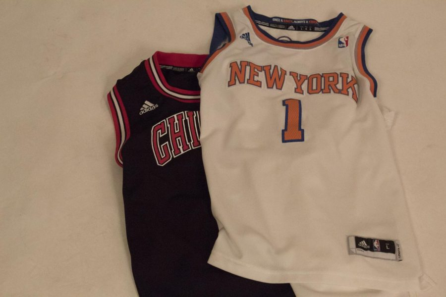 Different NBA jerseys representing the trade and change of scenery for NBA players.