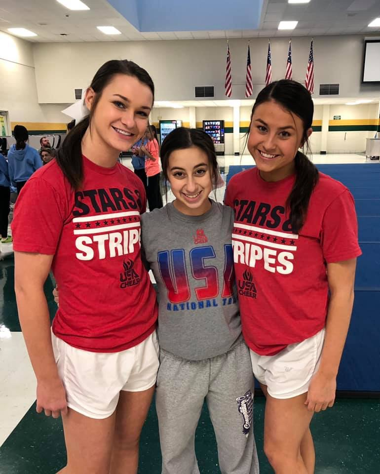 Sophomores Bridget Nauman and Kaitlyn Bargamian and junior Avery Frasch will all be members of the national coed cheer team that will compete this April at Worlds.