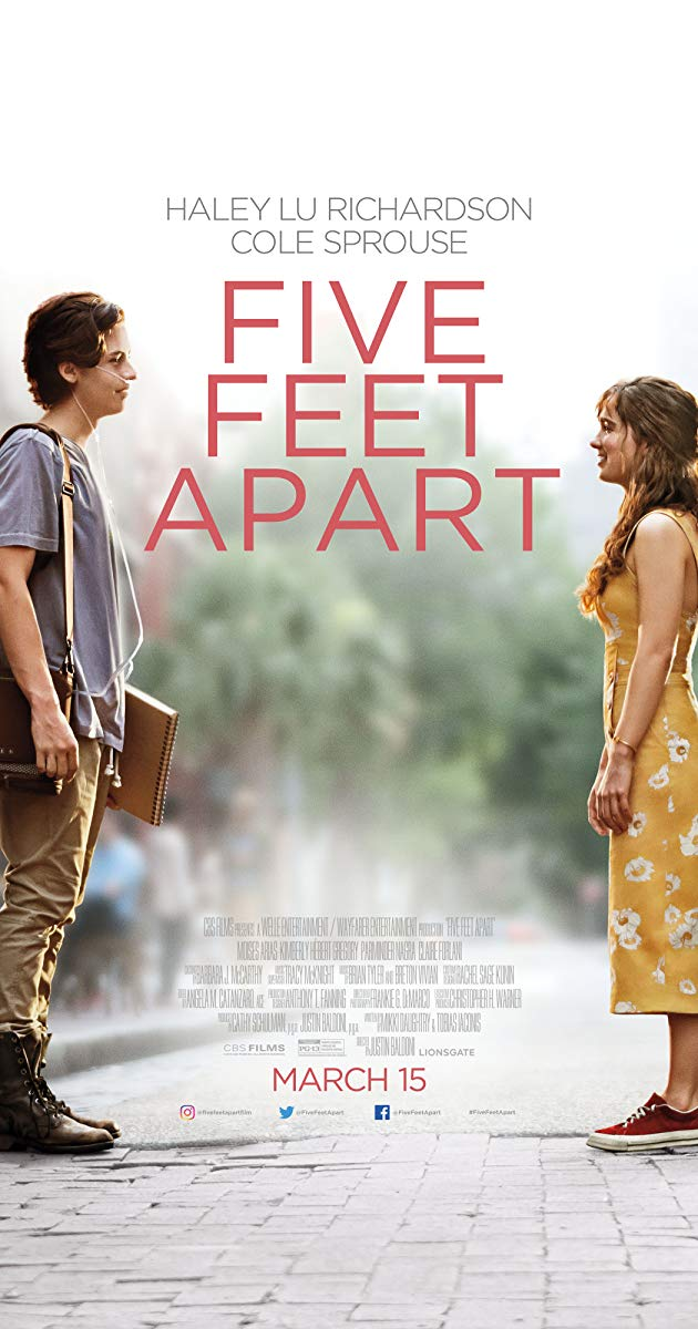 On the left Will (Cole Sprouse) and on the right Stella (Haley Lu Richardson) are seen standing five feet apart.