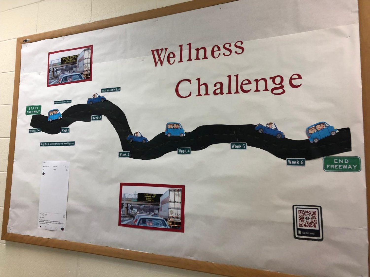 Sequoit Wellness Challenge promotional board created by the ILC staff.