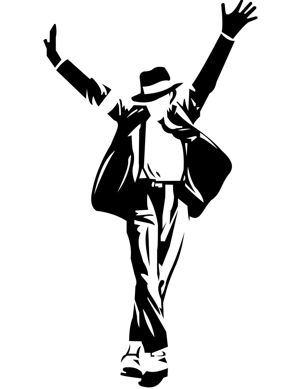 An illustration of Michael Jackson in one of his famous poses.