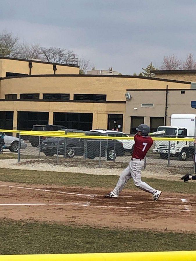 Senior Austin Andrews at bat during the Antioch versus Round Lake game on Friday, April 5.