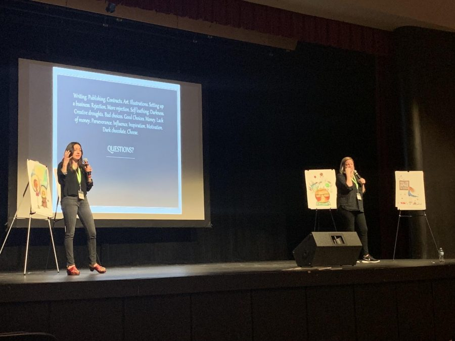 Gnat and Corky speak for Antioch Community High Schools storyteller series.