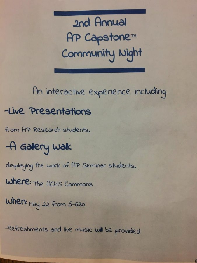 The AP Seminar students made this flyer to promote Community Night.
