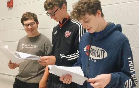Joseph Brown, Nicholas Taylor, and James Taylor are rehearsing their song for HarMENy.