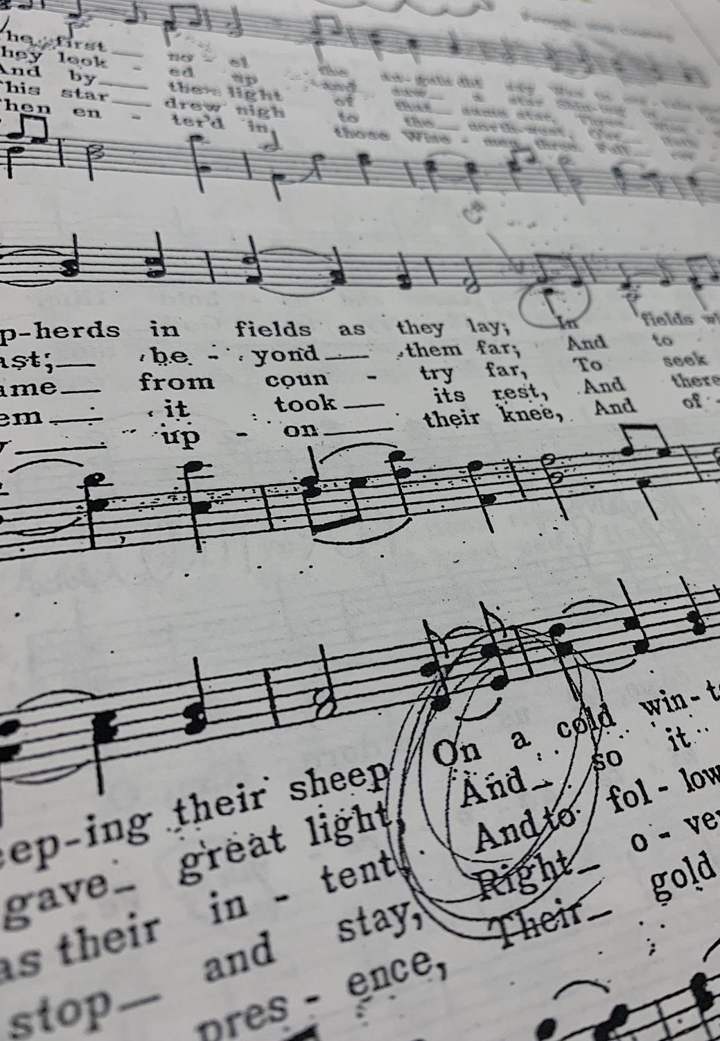 Sheet music from one of Chamber Choirs many Christmas carols from the past 30 years of performances.