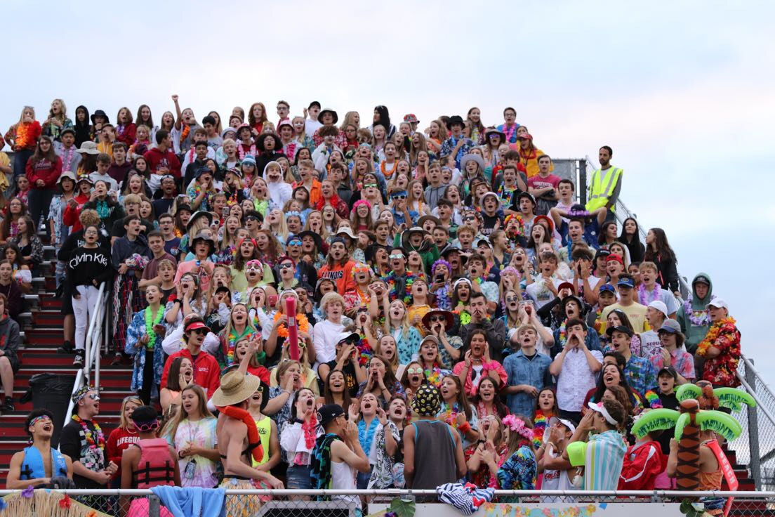 The Sequoit Cardinal Crazies show their school spirit at Friday night football.
