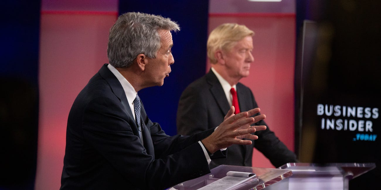 Pictured are candidates Joe Walsh and Bill Weld. In this image, Joe Walsh is talking about Donald Trump.