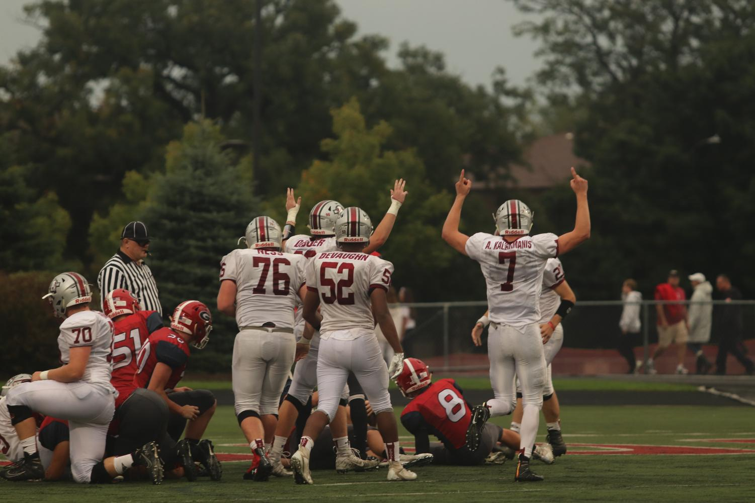 The Sequoits got excited when their first touchdown of the game was scored.