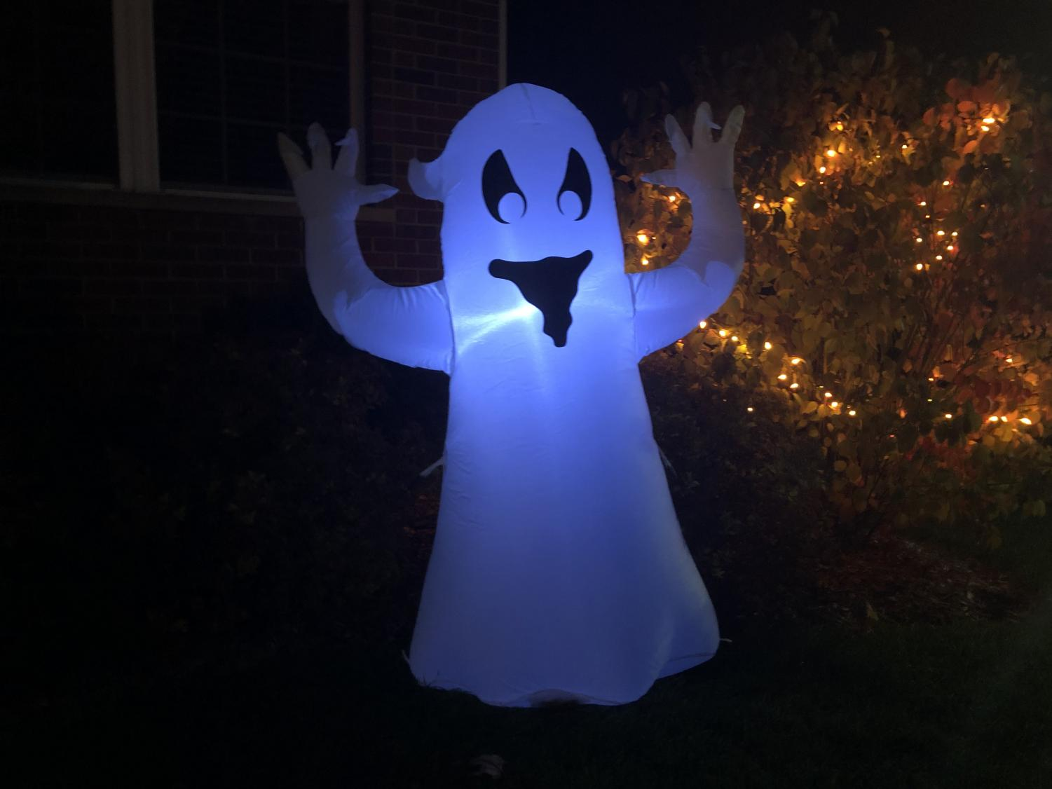 Ghosts are a common decoration for houses in preparation for Halloween. We as ghosts do not know how we should feel about these caricatures, as we do not know what we look like.
