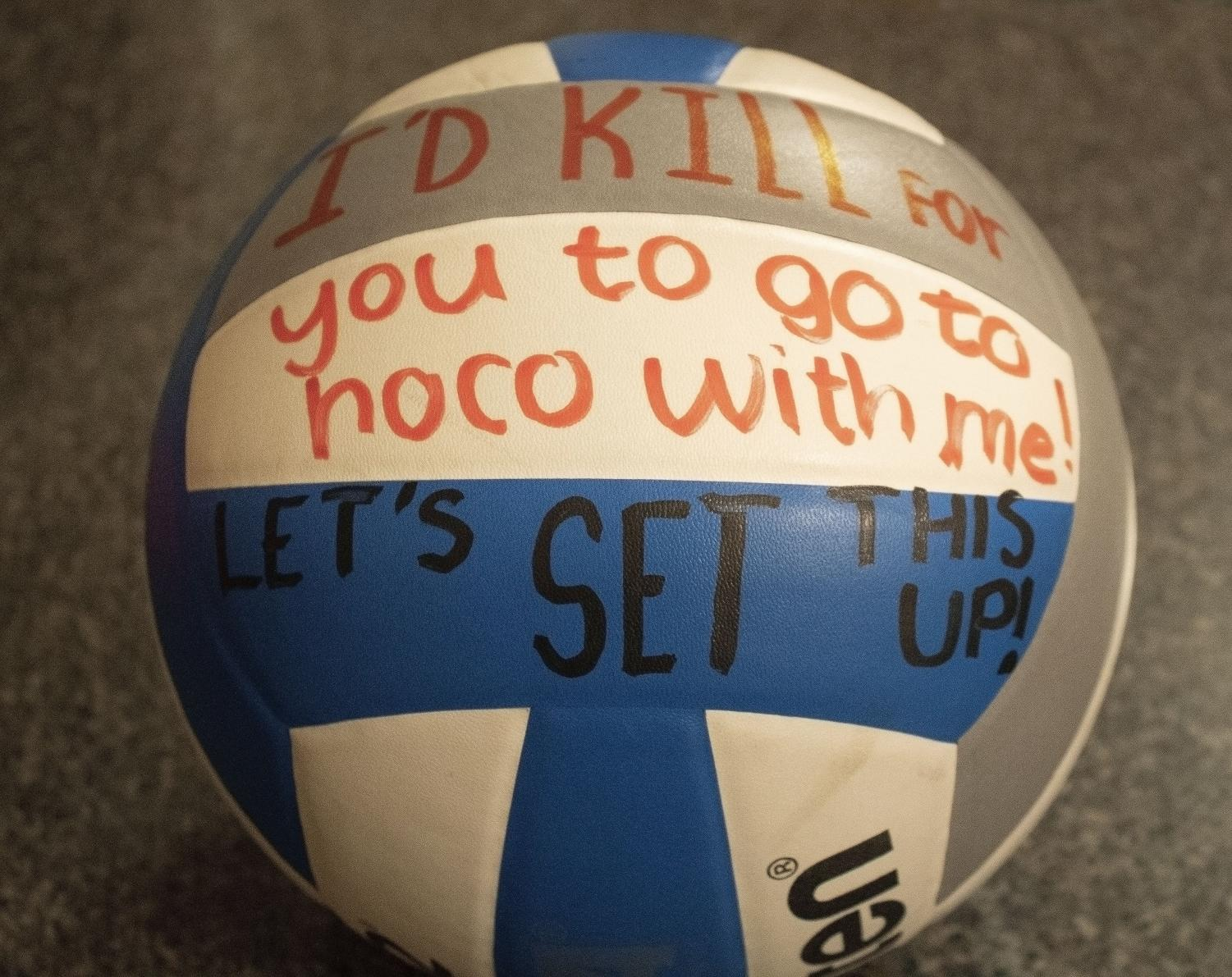 Many students use proposals such as volleyballs to ask their peers to homecoming.