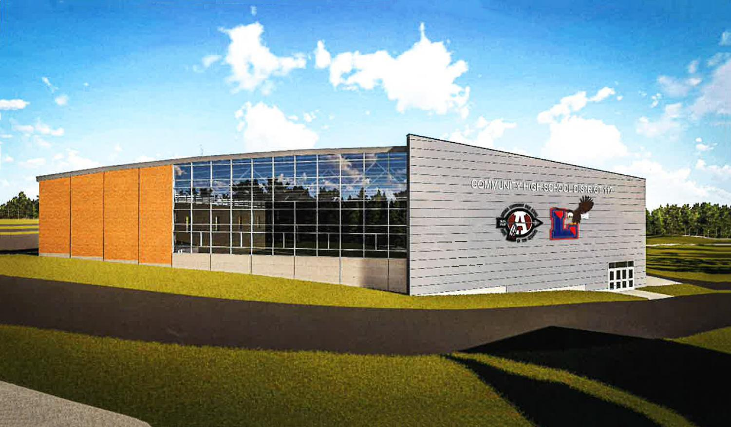 "This design, provided by the District 117 Board, depicts the vision that the district has for the field house. The impressive field house will cost around $22 million, according to the Daily Herald. ""It will probably be one of the top 2nd or 3rd field houses in the state of Illinois,"" Athletic Director Steven Schoenfelder said."
