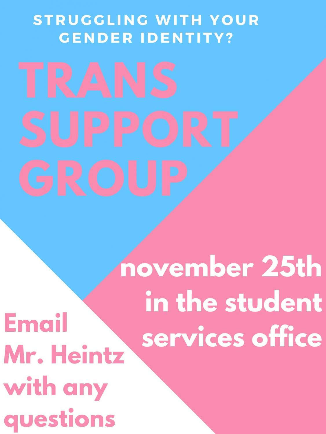 The transgender support group has flyers all across ACHS that will provide the information shown above and more.