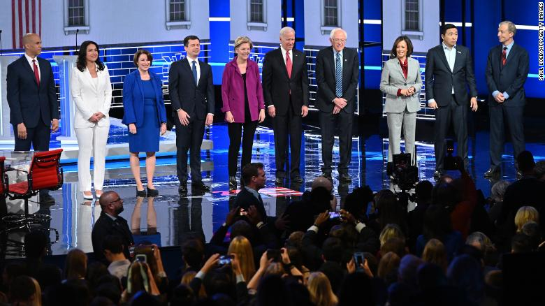Pictured are the Democratic candidates who are running for President.  (Left to Right: Booker, Gabbard, Klobuchar, Buttigieg, Warren, Biden, Sanders, Harris, Yang, and Steyer.)