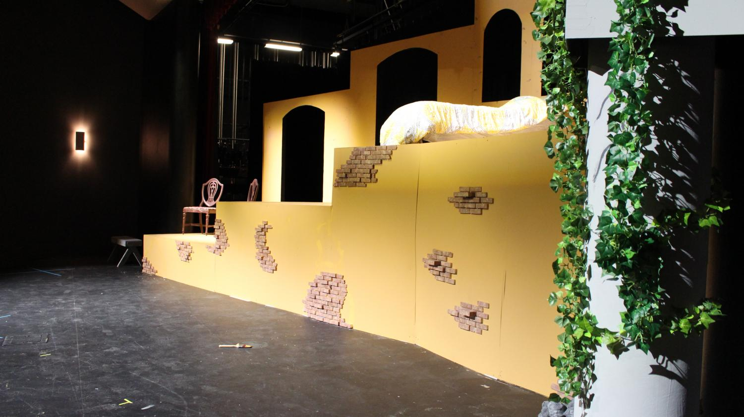 This set was created by students in the theatre program to be used for the play. The actors were able to utilize the set in many ways to demonstrate different settings. For example, one section of the set was Juliet's bedroom, while another portion was used as the balcony.