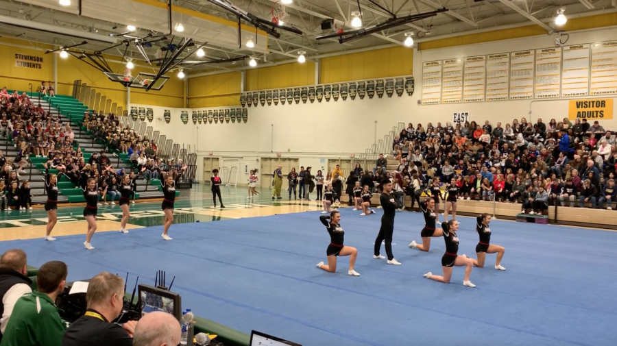 The Sequoits are performing their routine at Stevenson.