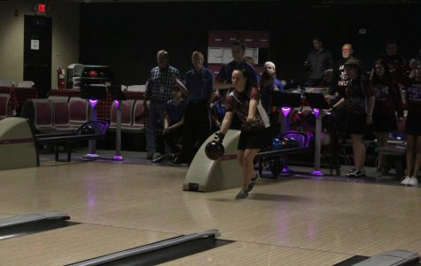 Lubkemen gets ready to throw her ball down the lane in hopes of a strike.