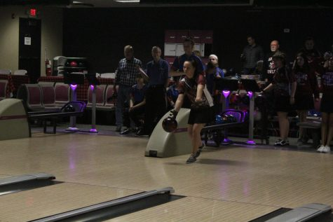 "Lubkemen gets ready to throw her ball down the lane in hopes of a strike. ""Getting a strike really gives me the energy I need when bowling,"" Lubkemen said."