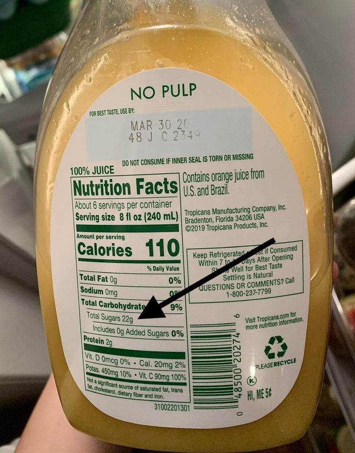While orange juice is generally believed to be a good way to stay healthy. However, as seen above, the beverage has way more sugar than people think. The container shown has 22 grams of sugar, which is the equivalent of 1.5 tablespoons.
